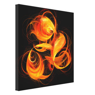 Fireball Abstract Art Wrapped Canvas Print