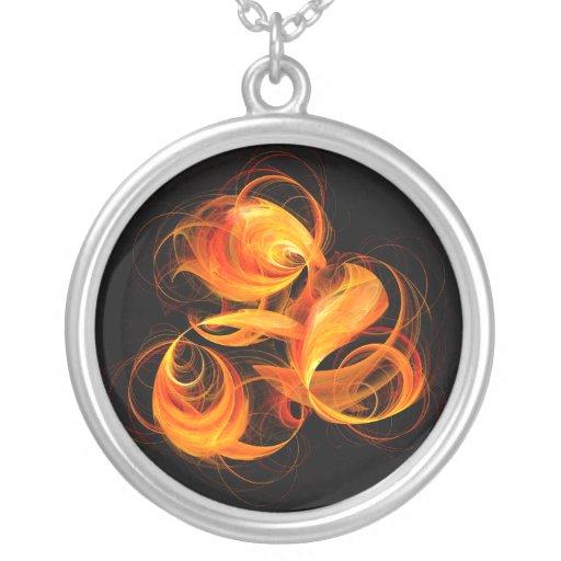 Fireball Abstract Silver Necklace