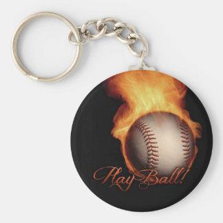 Fireball Pattern Baseball Lovers Keychain