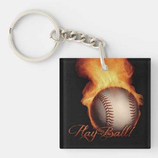 Fireball Pattern Baseball Lovers Square Key Chain
