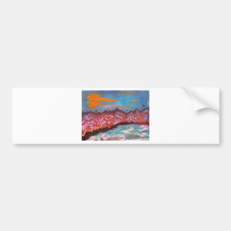 Fireballs over landscape bumper sticker