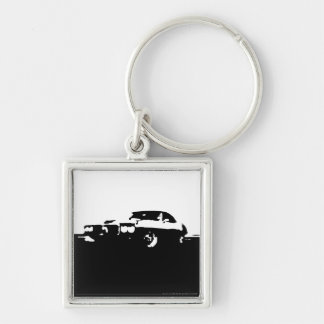Firebird, 1969 - Black on light Silver-Colored Square Keychain