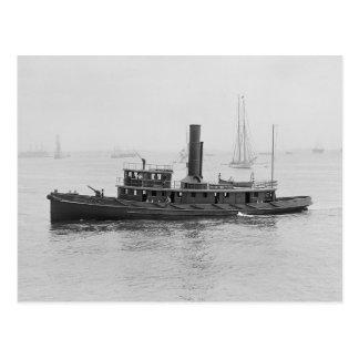 Fireboat in Boston Harbor, 1906 Postcard