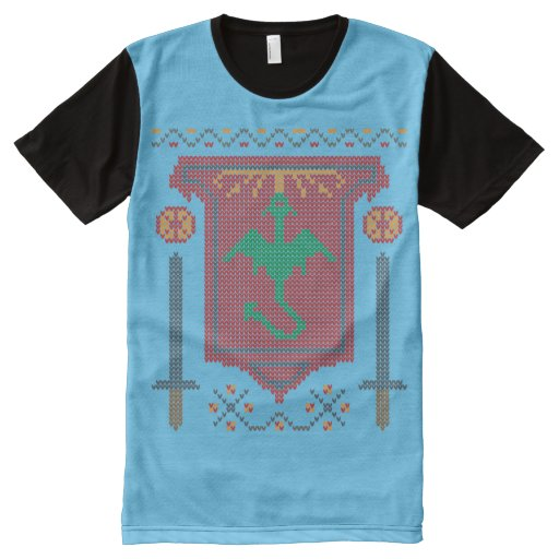 FireBreathing Dragon Ugly Christmas Sweater Shield All-Over-Print T-Shirt