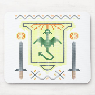 FireBreathing Dragon Ugly Christmas Sweater Shield Mouse Pad