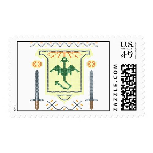 FireBreathing Dragon Ugly Christmas Sweater Shield Postage Stamp