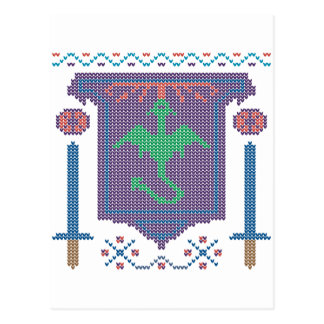 FireBreathing Dragon Ugly Christmas Sweater Shield Postcard