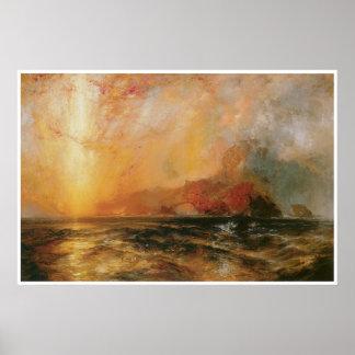 Firecely el sol rojo que desciende 1875-76 póster