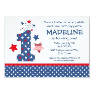 Firecracker 1st Birthday 5x7 Paper Invitation Card