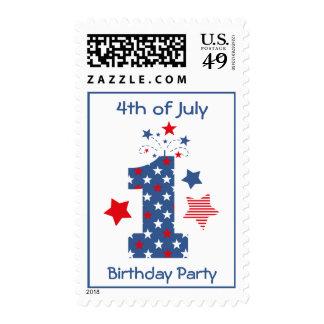 Firecracker 1st Birthday Postage Stamp