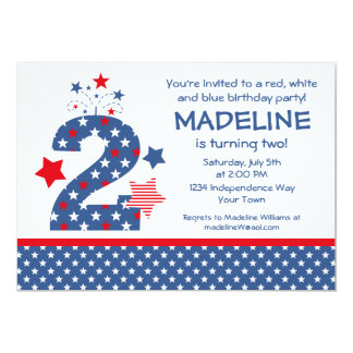 Firecracker 2nd Birthday 5x7 Paper Invitation Card