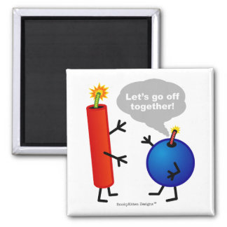 Firecracker and Smoke Bomb - Let's Go Off Together 2 Inch Square Magnet