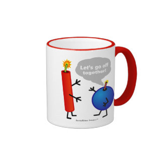 Firecracker and Smoke Bomb - Let's Go Off Together Ringer Coffee Mug
