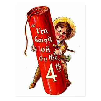 Firecracker Boy Joke 4th July Vintage Postcard Art
