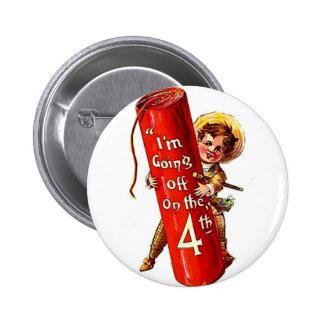 Firecracker Boy Joke 4th July Vintage Postcard Art Button