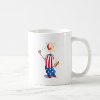 firecracker July 4th hotdog Classic White Coffee Mug