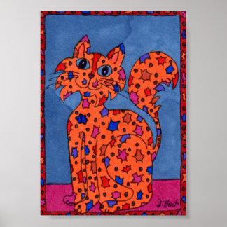Firecracker Kitty Cat Mini Folk Art Poster
