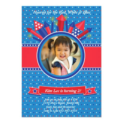 Firecracker Photo Birthday Party Invitation