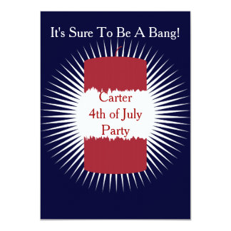 Firecracker Red, White and Blue 4.5x6.25 Paper Invitation Card