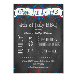 Firecrackers & Stars 4th of July Party Invitation at Zazzle