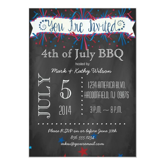 Firecrackers & Stars 4th of July Party Invitation