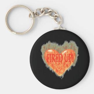Fired Up Basic Round Button Keychain