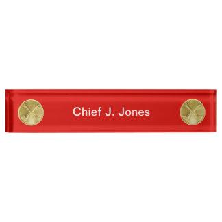 Firefighter 2 Bugle Medallion Desk Nameplate