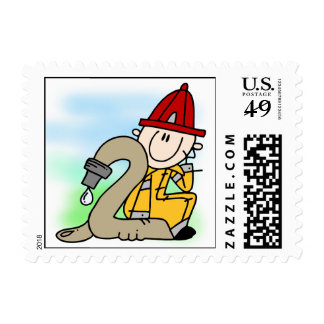 Firefighter 2nd Birthday Postage Stamps