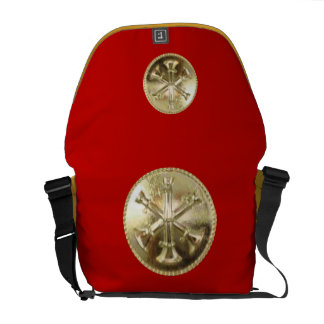 Firefighter 3 Bugle Gold Medallion Messenger Bag