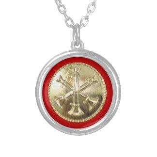 Firefighter 3 Bugle Gold Medallion Round Pendant Necklace