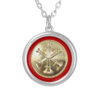 Firefighter 3 Bugle Gold Medallion Silver Plated Necklace