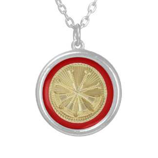 Firefighter 4 Bugle Gold Medallion Silver Plated Necklace