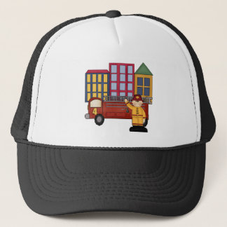 Firefighter 4th Birthday Gifts Trucker Hat
