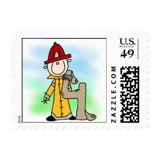 Firefighter 4th Birthday Postage Stamps