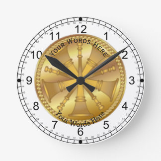 Firefighter 5 Bugle Chiefs Gold Medallion Round Clock