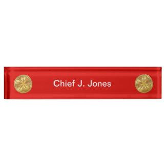 Firefighter 5 Bugle Gold Medallion Desk Name Plate