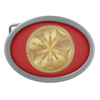 Firefighter 5 Bugle Gold Medallion Oval Belt Buckle