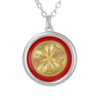 Firefighter 5 Bugle Gold Medallion Silver Plated Necklace