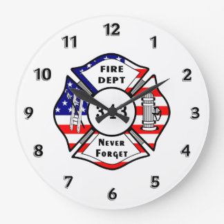 Firefighter 9/11 large clock