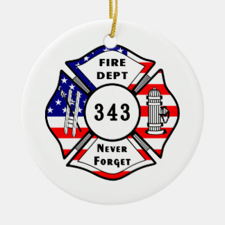 Firefighter 9/11 Never Forget 343 Ceramic Ornament