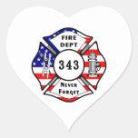 Firefighter 9/11 Never Forget 343 Heart Sticker