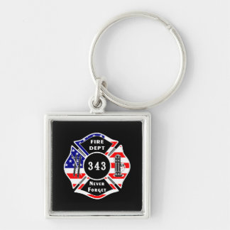 Firefighter 9/11 Never Forget 343 Keychain