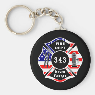 Firefighter 9/11 Never Forget 343 Basic Round Button Keychain