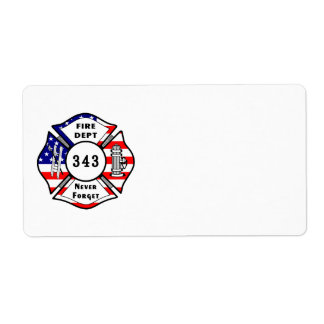 Firefighter 9/11 Never Forget 343 Label