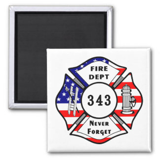 Firefighter 9/11 Never Forget 343 2 Inch Square Magnet