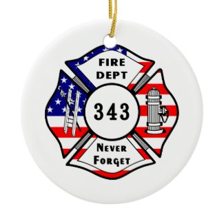 Firefighter 9/11 Never Forget 343 ornament