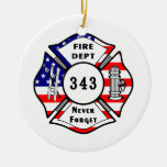 Firefighter 9/11 Never Forget 343 Ornaments