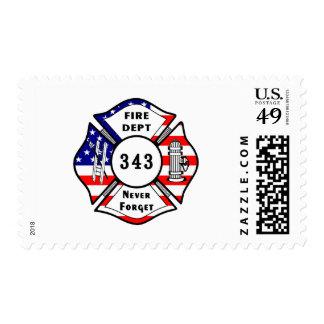 Firefighter 9/11 Never Forget 343 Postage Stamp