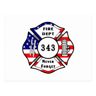 Firefighter 9/11 Never Forget 343 Postcard