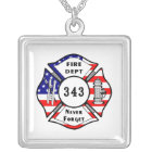 Firefighter 9/11 Never Forget 343 Silver Plated Necklace